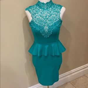Solemio peplum formal dress lace keyhole back